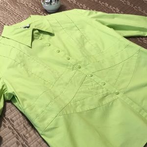 Nygard blouse, lime green, size 14